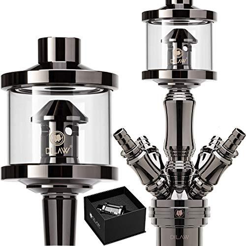 DILAW® Shisha DX1 Glas Molassefänger Edelstahl Wasserpfeife, Vorkühler-Aufsatz für(Schliff 18/8) Zubehör Frarbe Black