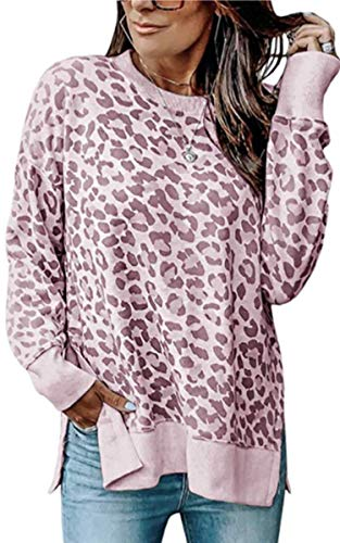 Angashion Women's Sweatshirts - Casual Leopard Print Crewneck Long Sleeve Oversized Pullover Tunic Sweatshirt Tops Pink L