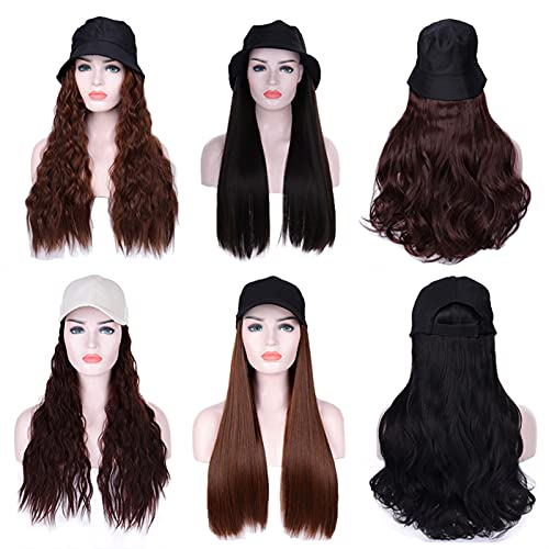 Alysays Useful Long Synthetic Baseball Cap Wig Natural Black/Brown Wave Wig Natural Synthetic hat Wig Adjustable Girl Party Convenient (Color : YFD1 2, Stretched Length : 22inches)