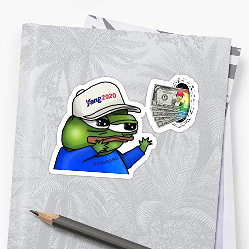 apu apustaja Wall Eyed Pepe Frog Yanggang A-N-Drew Yang 2020 $1000 Rare PepeTheFrog from k-e-k-i-s-t-a-n 3D Effect HD Sticker (3 Pcs/Pack) Perfect for Water Bottle, Laptop Phone