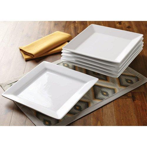 Better Homes and Gardens Square Dinner Plates, White, Set of 6