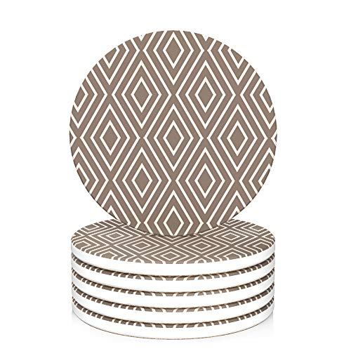LIFVER Coasters for Drinks Absorbent, 6-Piece Set Ceramic Coasters with Cork Base, Lattice Patterns Stone Coasters Set 4 inch for Wooden Table, Housewarming Gift idea, for Home Decor, Brown