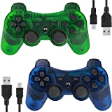 Wireless Controllers for PS3 Playstation 3 Dual Shock (Pack of 2,ClearBlue and ClearGreen)