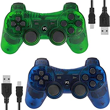 Wireless Controllers for PS3 Playstation 3 Dual Shock  Pack of 2,ClearBlue and ClearGreen