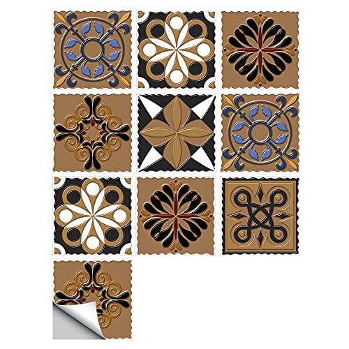 Pegatinas para azulejos de flores, impermeables, autoadhesivas, retro, cuadradas, para decoración de muebles de cocina, baño, 10 cm x 10 cm x 10 unidades