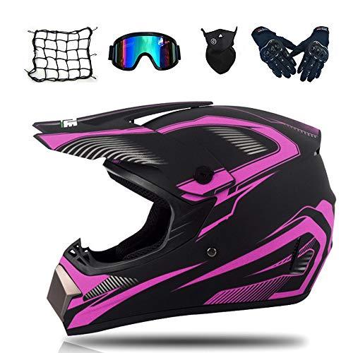 MRDEAR Motocross Helm Damen mit Brille/Handschuhe/Maske/Motorrad Netz, Schwarz und Pink, Motorrad Crosshelm Erwachsener Kinder Fullface MTB...