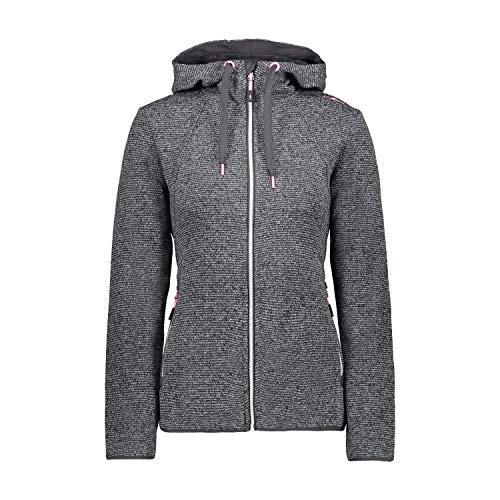 CMP Damen Strickfleecejacke mit Kapuze Fleece Jacket, Grey-Antracite-Nero, D42