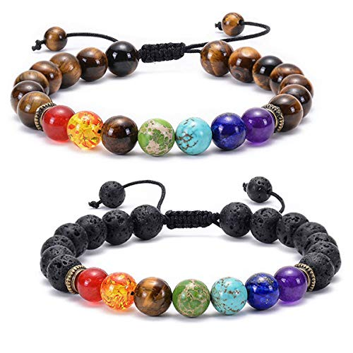 Techson 7 Chakras Bracelet, Lava Rock and Tiger Eye 8mm Natural Stone Braided Rope Bangle, Essential Oil Diffuser Gemstone Beads Yoga Bracelet (2 Pack)