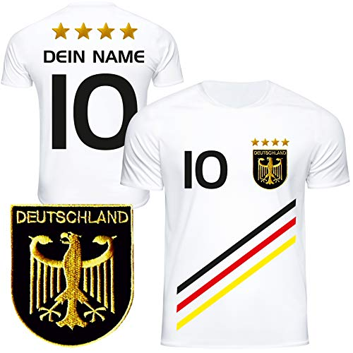 DE FANSHOP Deutschland Trikot mit GRATIS Wunschname + Nummer #D3 2021 2022 EM/WM weiß - Geschenk für Kinder Jungen Baby Fußball T-Shirt personalisiert als Ostergeschenk