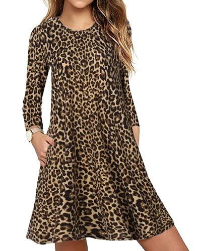 CNFIO Elegant Freizeitkleider T Shirt Kleid Damen Leopard Langarm Kleider Abenkleider Tunika Minikleider mit Taschen Herbst Braun XL