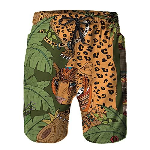Badehose Herren Schnelltrocknende Boardshorts, Dschungel Leopard Malvorlagen Sommer Strandshorts XL