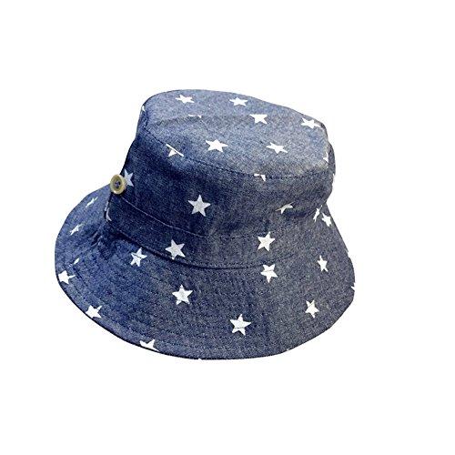 E-House Chapeau de soleil en coton doux imprimé étoile Bleu clair - Gris - Taille Unique