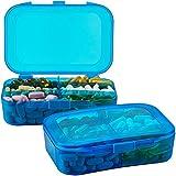 Estuche organizador de píldoras - (Paquete de 2) Caja portátil de 6 compartimentos con recordatorio para sus píldoras, medicamentos, suplementos, vitaminas y pescado.