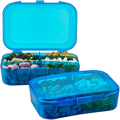 Pill Organizer Case - (Pack of 2) Portable 6 Compartment Daily Travel Medicine Reminder Box for Your Pills, Medications, Supplements, Vitamins and Fish Oils, Blue