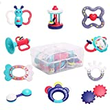 WISHTIME Baby Rattle Teether Baby Toys - 10pcs Shaker, Grab, Shaking...