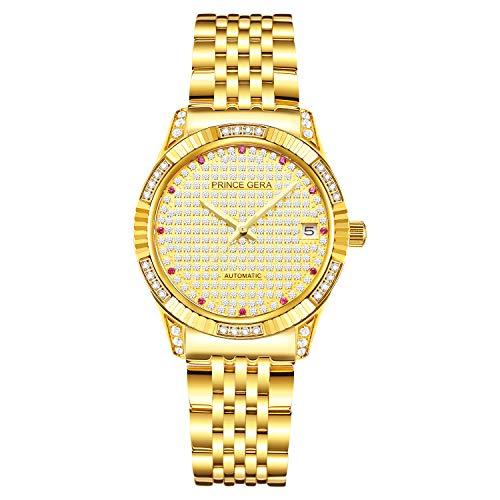 Prince Gera Orologi da coppia/amanti placcati oro 18 carati Diamante Calendario Data Orologio meccanico automatico Orologi da polso impermeabili analogici