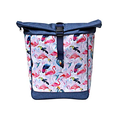 IKURI Kombi - Mochila para bicicleta o mochila para equipaje, bolsa de bicicleta de tela de vinilo impresa, impermeable, diseño de pajaros