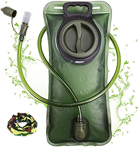 Hydration Bladder 2 Liter Leak Proof Water Reservoir, Military Water Storage Bladder Bag, BPA Free Hydration Pack Replacement, for Hiking Biking Climbing Cycling Running, Large Opening, Green