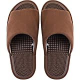 Pantoufles pour femme - Appareil de massage des pieds - Sandales de bain avec point de massage - Antidérapantes - Marron - Taille M