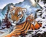 UROE Pintura Diamante Snow Mountain Cute Tiger Diamond Painting Set Stone Art Drawing Adult Children Gift Press Painting