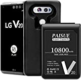 LG V20 Battery [10800mAh] Super Capacity Replacement Battery with Black TPU Case for LG V20/BL-44E1F H990 / H910 / H918 / VS995 / LS997 / US996 I LG V20 Extended Battery