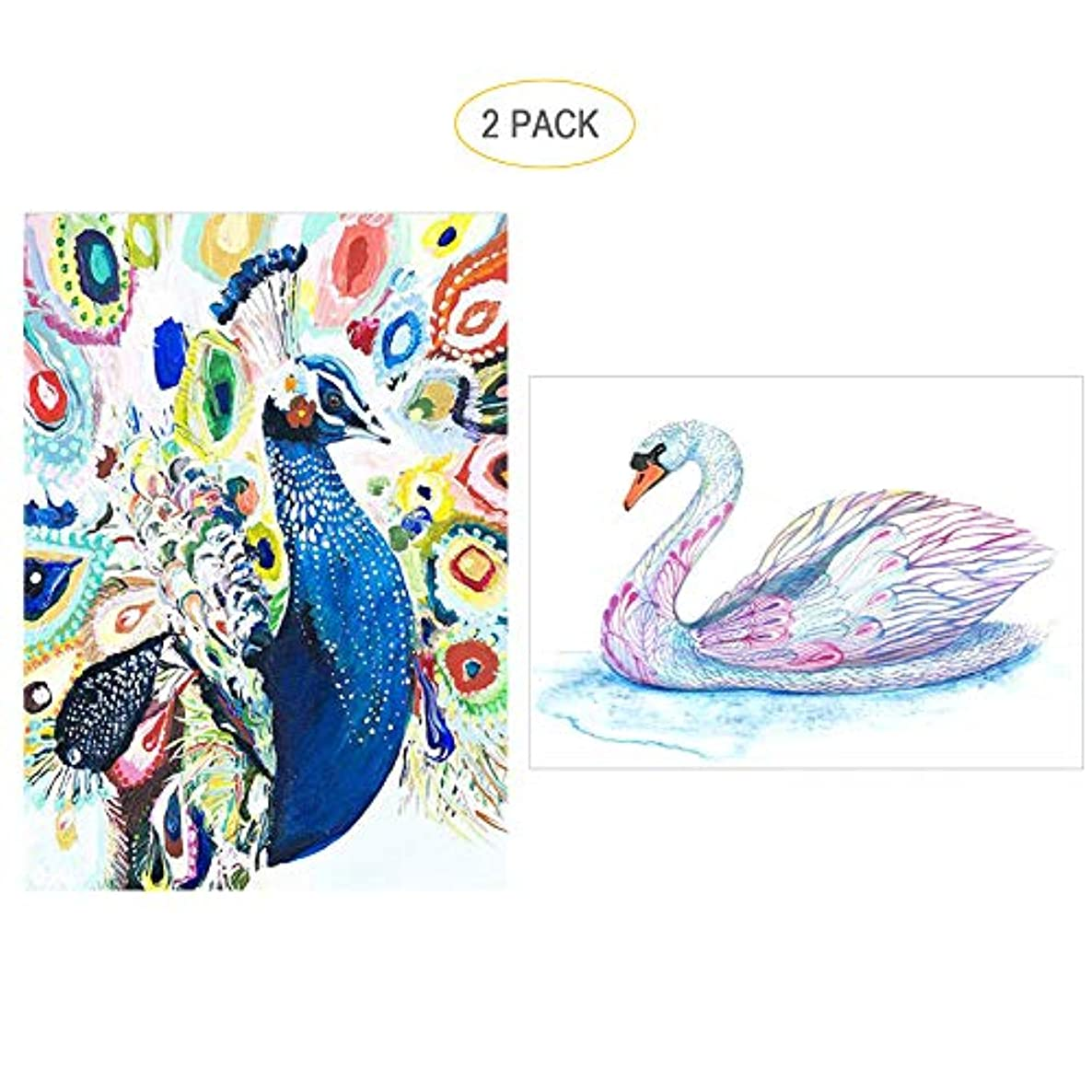 5D Full Drill Diamond Painting Kit,Hartop DIY Diamond Rhinestone Painting Kits for Adults and Beginner,Embroidery Arts Craft Home Office Decor 12 X 16 Inch (2 Pack of Peacock Swan)