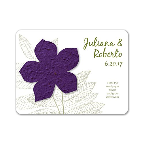 Bloomin Plantable Wildflower Wedding Favor with Seed Paper - Violet (25 Card Set)