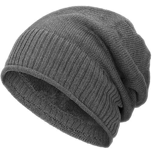 Compagno gefütterte Wintermütze für Herren und Damen Mütze Beanie Haube Einheitsgröße Strickmütze, Farbe:Grau