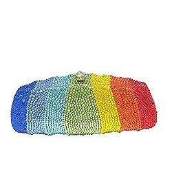 Elegant Rainbow Colour Crystal Clutch Purse
