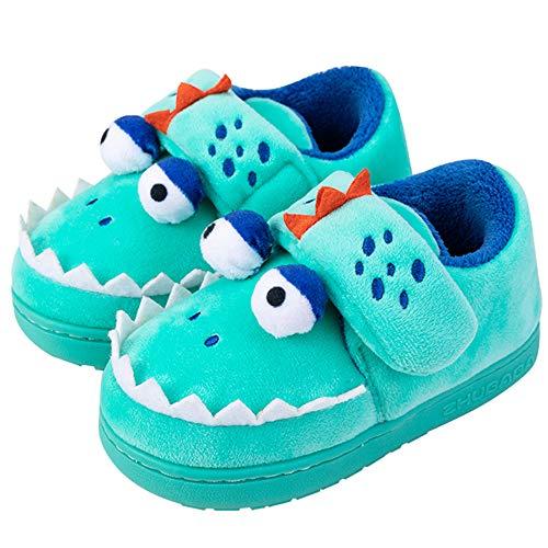 Zapatillas de Felpa Dinosaurio Infantil para niños y niñas Invierno otoño casa cálida Zapatos Interiores para niños pequeños Zapatos de algodón 26-27 EU para pies de 170 mm