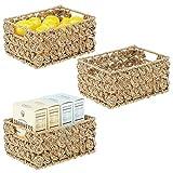 mDesign Juego de 3 cestas organizadoras de armario o estante – Canasta trenzada de junco marino y alambre de metal – Cesto extraíble con asas para baño, cocina, etc. – 22,9 x 30,5 x 15,2 cm – natural