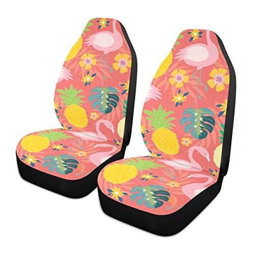 Fundas para asiento de coche 2 piezas de asientos delanteros Cute Flamingo Automotive Seat Covers con protector de asiento de bolsillo trasero Fundas de alfombrilla de coche para la mayoría de vehíc ✅