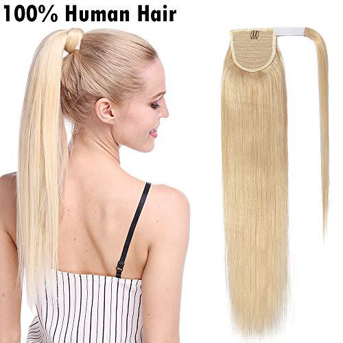 SEGO Extension Coda Capelli Veri Clip Coda di Cavallo Ponytail 100% Remy Human Hair Naturali 80g (40cm, 613 Biondo Chiarissimo)