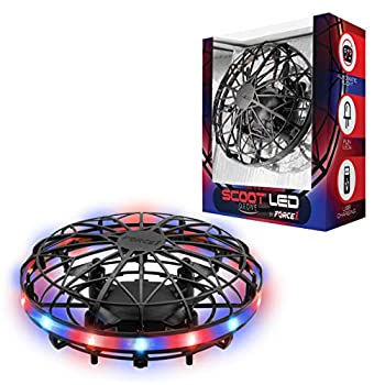 Force1 Scoot LED Hand Operated Drone for Kids or Adults - Hands Free Motion Sensor Mini Drone Easy Indoor Small UFO Toy Flying Ball Drone Toy for Boys and Girls  Red/Blue