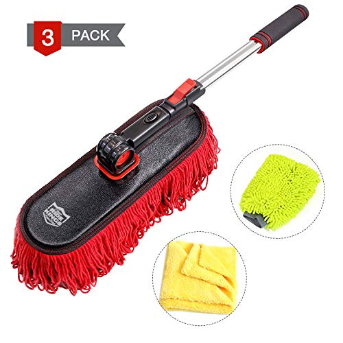 RIDE KINGS Car Duster Kit, Extendable Soft Microfiber Multipurpose Duster, Premium Chenille Car Wash and Dust Mitt, Lint Free Cleaning Towels, Perfect Duster for Exterior Interior