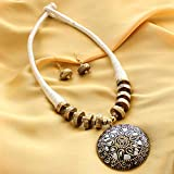Divine Products India Handcrafted Tribal White Thread Necklace Set with Earrings