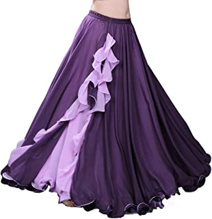 Chiffon Belly Dance Skirt for Women Belly Dancing Costume Outfit Tribal Maxi Full Dance Skirts Dress Voile