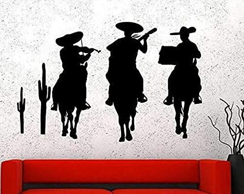 Etiqueta De La Pared Pared Extraíble Decoración Del Arte De La Pared Y Etiqueta De La Pared Mural Arte Mural Hombre Montando Un Caballo Espectáculo Instrumentos Musicales 52X75Cm