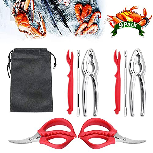 9Pcs Seafood Tools Set Crab Lobster Crackers Stainless Steel Forks Opener Shellfish Lobster Crab Leg Sheller Nut Crackers…