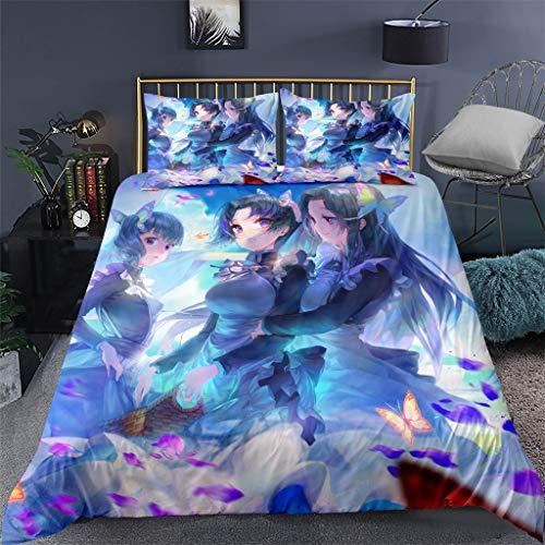 SAFTYBAY Demon Slayer Manga Bedding Set 3D Japanese Anime Comforter Set Novelty Bed Set for Twin Full Queen King Size - 1 Duvet Cover + 2 Pillow Case, Novelty New Year (10,172×218cm)