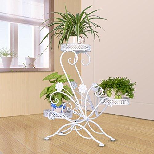 Cadre en fleur de fer Panier vert Balcon Salle de séjour Intérieur Pots à fleurs Cadre multifonctionnel pour plantes 3 couches (Couleur : Blanc)