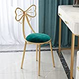 Makeup Vanity Girl Chairs Stool for Bedroom with Bow Knot Backrest,Side Table Seat Dressing Chair with Golden Metal Leg,Velvet Cushion for Girl Daughter Room
