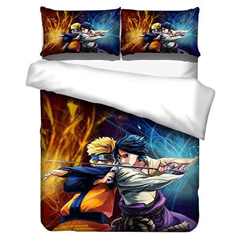 Japanese Anime Naruto Characters Bed Comforter Cover Duvet Cover Sets 3 Pieces Bedding Set 1 Duvet Cover & 2 Pillow Shams for Household Decor (1,Full- 200x230cm)