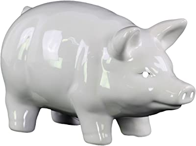 Urban Trends Ceramic Standing Pig Figurine with Painted Eyes Gloss Finish, White