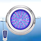 Luces LED Piscina Sumergibles con Control Remoto, 12W Luces Sumergibles Bajo El Agua Luces, 12V AC/DC, Acero Inoxidable, IP68 Impermeable, Luz del Estanque Multicolor RGB, para Estanque, Piscina