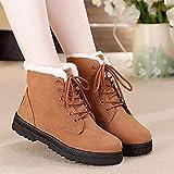 Mrzhou Botas para Mujer Botas de Nieve cálidas de Invierno Botas de Cuero de Terciopelo para Mujer Mujeres de Invierno Zapatos de Felpa (Color : WSH2461 Brown, Shoe Size : 12)