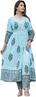 GoSriKi Women's Sky Blue Cotton Kurti With Palazzo Pant Set (AACHHO-SKY)