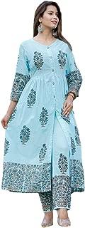 GoSriKi Women's Sky Blue Cotton Kurti With Palazzo Pant Set (AACHHO-SKY)
