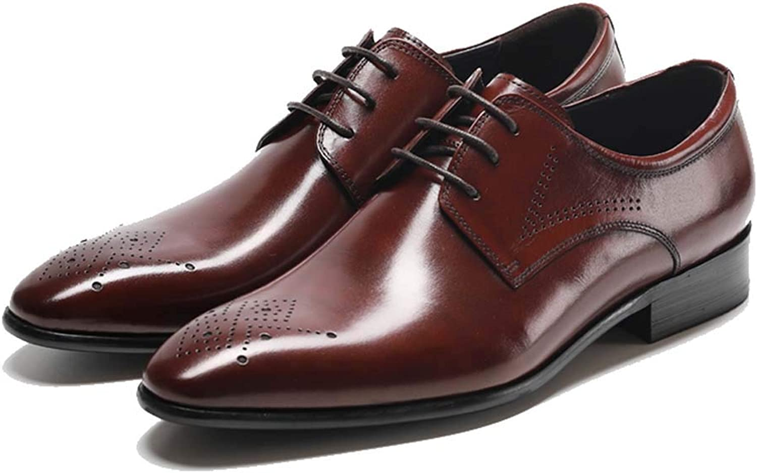 Men's Office shoes Leather Dress Pointed Leather shoes with Retro Business shoes