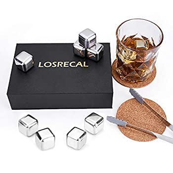 【Newly Gift Set】LOSRECAL Stainless Steel Ice Cube 8 Pcs Whiskey Stones Whiskey Stainless Steel Ice Cubes Best Men Gift with Cork Coaster and Tongs and Trays for Anniversary Birthday Valentine s Day